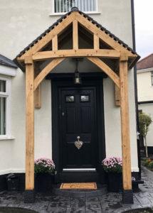 Floor and Wall Mounted Porch Black Door