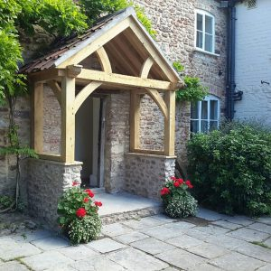 High Brick Plinth Porch Curved Truss