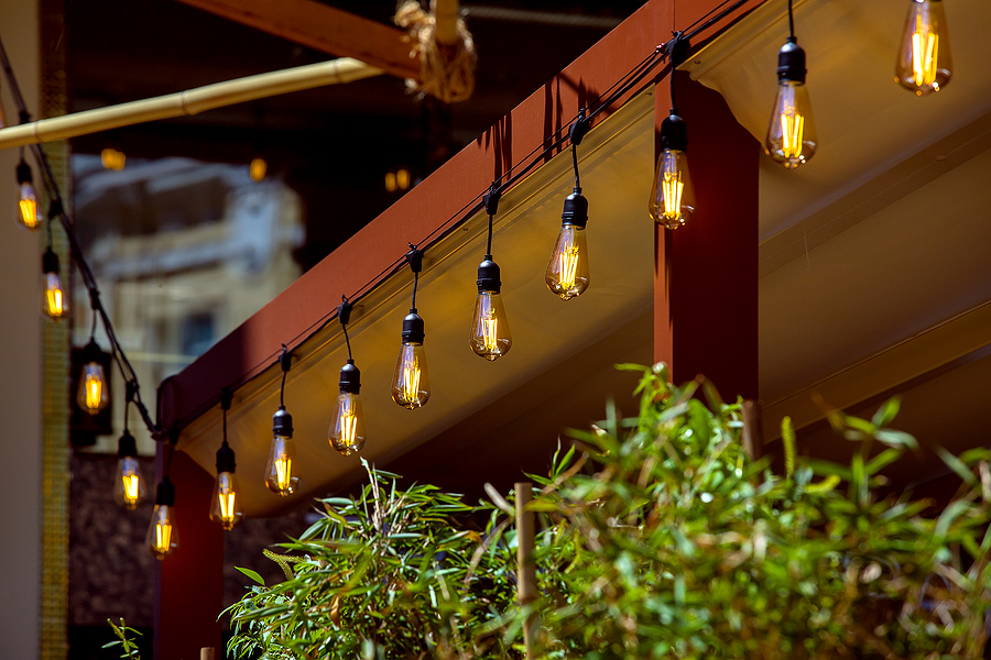 open porch lighting ideas with string garland lights